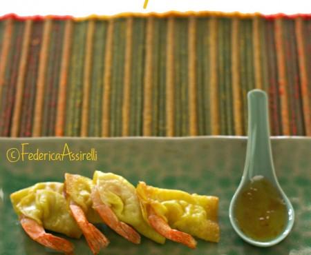 Gamberi in coperta con salsa di prugne
