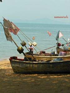 Quadretti di stoffa sulle barche